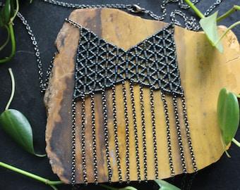 Hand Woven Boho Fringe Long Necklace