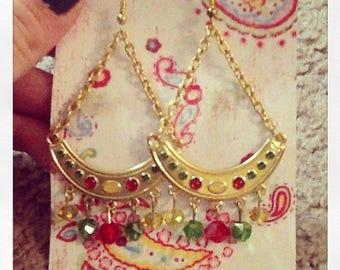 Red, Green & Gold Chandelier Earrings