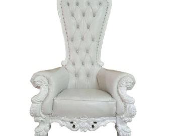 READY TO SHIP! Throne Chair White with White Trim