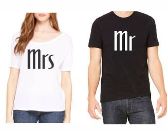 Mr and Mrs Shirt Set, Mrs Shirt, Mr Shirt, Honeymoon Shirts, Wedding Shirts,Bridal Shirts,Wedding Party Shirts, Honeymoon shirt set, Mr Mrs