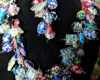Lampwork Italian glass bead necklace and matching bracelet with toggle clasp millefiore