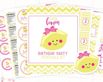 Lemon Party Printable Collection, Personalized Lemonade Party Printables, Cute Lemon Party Printable, Full Lemonade Party Set