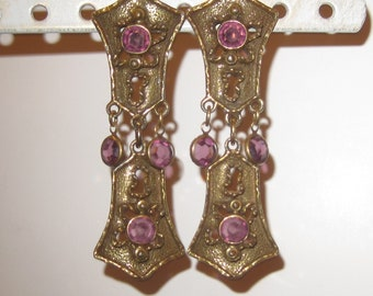 Vintage Goldette Amethyst glass Goldtone earings