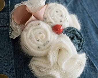 Textile floral coat brooch,handmade flowers,white floral brooch,recycled materials brooch,recycled jeans ,red beads .