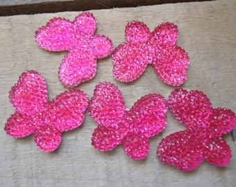 Set of 5 Butterfly pink craft 3 cm * 2.5 cm