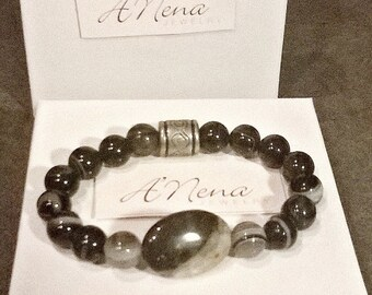 "Bracelet  For Men: Onyx, & Silver-Plated Copper bead By ANena Jewelry   ""I Am Able"" Ideal gift for him"