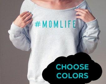 Personalized Maternity Sweatshirt #momlife Momlife Sweater Maternity Clothes Maternity Sweaters Slouchy Sweatshirt #momlife Off Shoulder