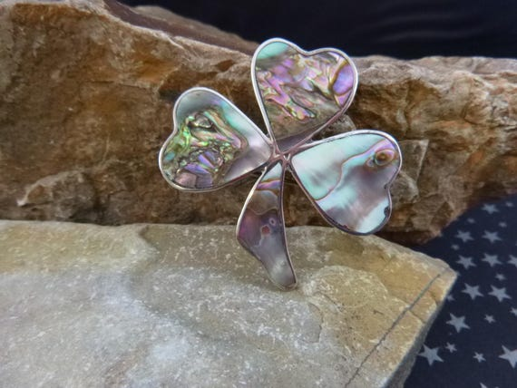 Silver Irish Shamrock Brooch with Abalone Shell Vintage Mexican Large Sterling Pin and Pendant Signed JT St Patrick's Day Three Leaf Clover