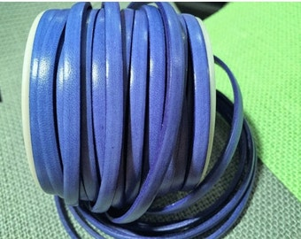 "16"" 5mm Flat Leather Cord, Italian Dolce Vivid Blueberry Flat Leather Cord Bracelet Finding, Jewelry supplies strap"