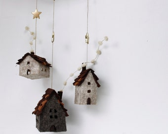 Christmas ornaments felt,  Set of 3 rustic houses cottages, Handmade Housewarming Gifts, Earth,cream shades, Decorative idea, sweet home