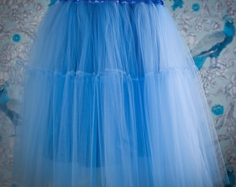 Blue Pettiskirt Double Layer, Wedding tulle skirt,bridal tulle skirt,bridal skirt,celebration,party,clothes,gift,Petticoat,Fashion
