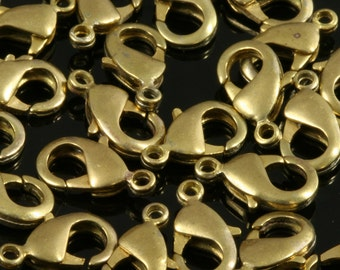 50 pcs raw brass solid brass lobster claw clasps 15 x 8 mm CL20 503 303