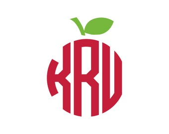 Apple Monogram Vinyl Decal Icon - 2 Color - Choose from 14 colors in various sizes and fonts