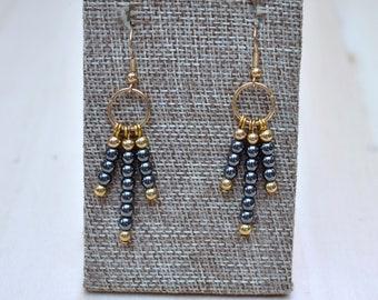 Hematite Beaded Earrings/ Black Metallic Hematite Beads/ Gold Plated Dangle Tassel Simple Earrings/ Natural Gemstone Mineral (EP-EBS10-HM)