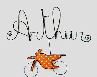 "Name personalized wire ""Bike"" wall decor for child's room"