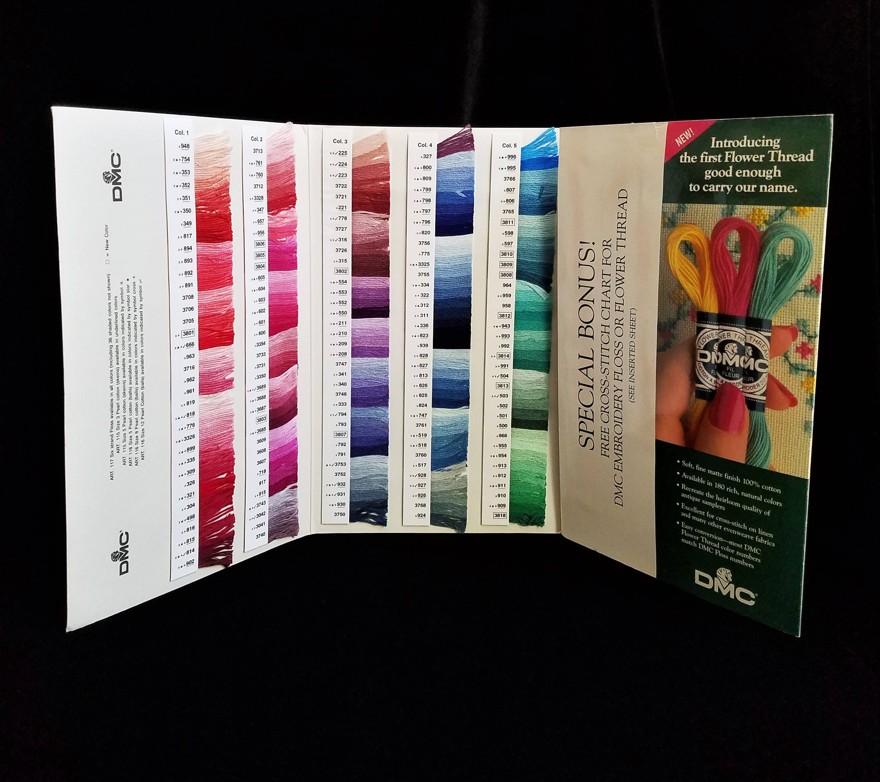 Dmc six strand embroidery floss color card real thread samples dmc color swatch chart needlework pearl cottons sold by oldraven nvjuhfo Images