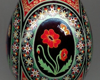 Made To Order: Red Poppies Pysanka  Floral Series  EBSQ Juried Plus