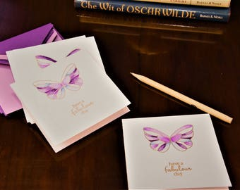 Hand made note cards - set of 5 - purple butterfly