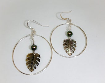 Silver Hoop Earrings with Dangled Pearls and Carved Mother of Pearl Monstera Leaf, Made in Hawaii