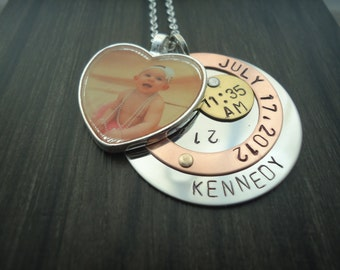 Birth Announcement Hand Stamped Heart Photo Necklace - New Baby Necklace, New Mom Necklace