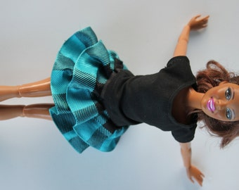11.5 inch doll clothes - Black top and blue plaid skirt
