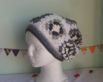 Granny square hat, Grey and White granny square hat, crocheted hat, slouchy hat