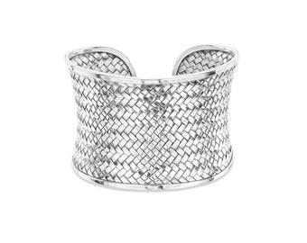 Wide Weave Cuff Bracelet, Silver Cuff Bracelet, Silver Bracelet Cuff, Wide Adjustable Bracelet, Weave Pattern Silver Bracelet For women