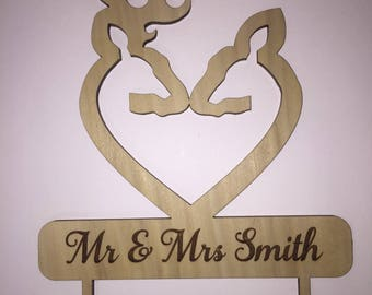Personalized Deer Heart Cake Topper