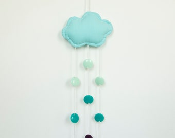 Blue Children's Cloud Mobile. Children's Room Decoration. Mobile For Nursery. Fun Baby Mobile.
