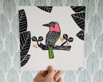 Linocut bird and leaf - print black ink