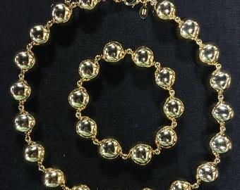 KJL Gold Bead Statement Necklace & Bracelet