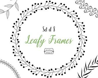 Circle Frames, Digital Wreath, Frame Clip Art, Leafy Wreath, Circle Clipart, Digital Download, Clip Art Set, Commercial Use, PNG