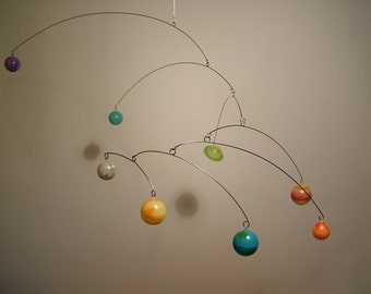 Glow In Dark 8 Planets Mobile by Julie Frith for Kids Room Play area above bed.