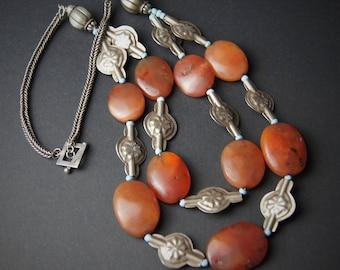 Tribal Silver Ethnic Carnelian Necklace
