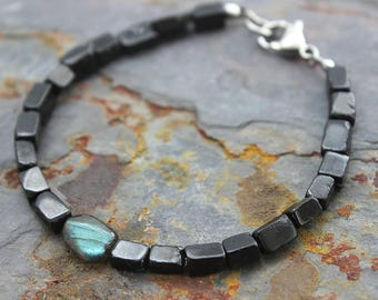 Mens Bracelet Black Tourmaline Husband Birthday Gift for Him for Men Beaded Bracelet with Labradorite Gemstone Stainless Steel Lobster Clasp