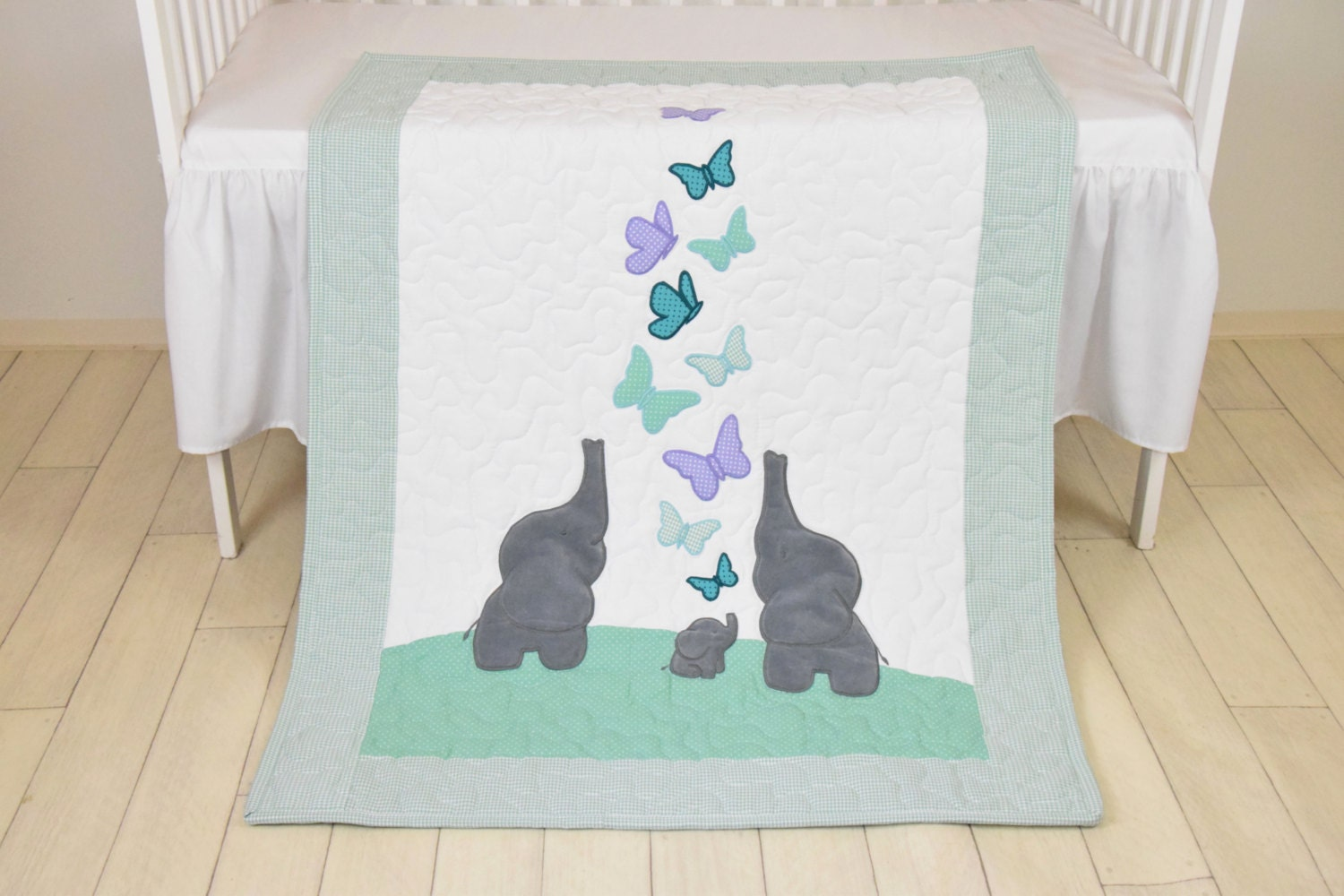 Mint Baby Blanket Teal Purple Gray Crib Bedding Elephant