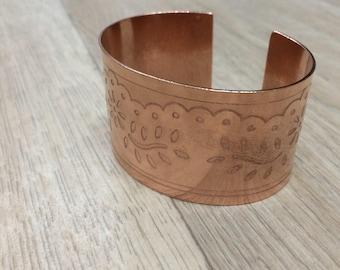 Copper cuff, rose gold tone cuff, arthritis cuff, flower cuff, leaf cuff, copper bracelet, copper jewellery
