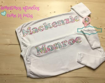 Twins baby gifts etsy twin baby girl gowns personalized baby gown newborn gown infant gown twin negle Image collections