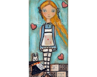 A as in Alice - Print from Original Mixed Media Folk Art Painting by FLOR LARIOS ( 5 x 10 inches)