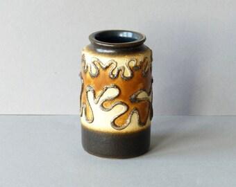 Vintage mini vase by VEB Haldensleben, East Germany, DDR, brown , cream, caramel figures with lines in relief, model 3068, German pottery