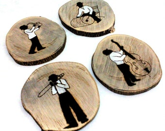 Music Gift, Wood Coasters, Music Gift for men, Music Drink Coasters, Wooden Coasters, Music Decor, Music Art, Musicians Gift, Gifts for him
