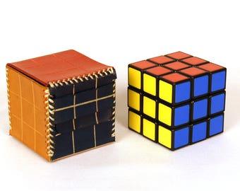 Rubik's  leather box, Ruby cube, Rubik's cube cover, box for ruby bucket, box for ruby cube, ruby cubing, rubik's lovers, jigsaw puzzle.
