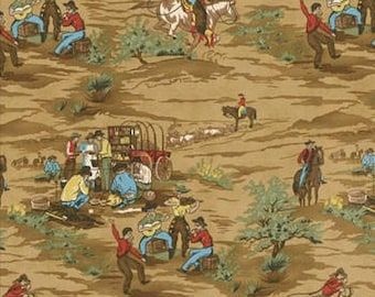 RARE!! Home on the Range quilting fabric by Moda in Brown REMNANTS