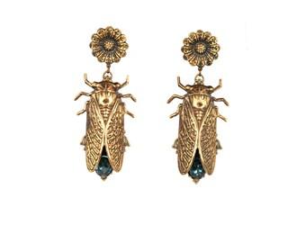 Cicada earrings blue stones victorian  jewelry  beetle earring insect jewelry Cicadas flower stud earrings