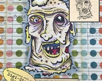 Zombie Digital Stamp - Walking Dead Digital Stamp - Digistamp - Coloring Pages - Printable Sticker - Clip Art - Printables