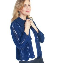 Laine bleu Cardigan veste Angela dentelle grosse main tricot Cobalt laine péruvienne Azur Marine XS/S M/L