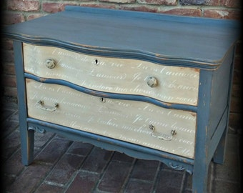 SOLD SOLD Distressed Antique dresser, shabby chic dresser, French stenciled dresser, 2 drawer dresser, Rustic dresser, blue dresser