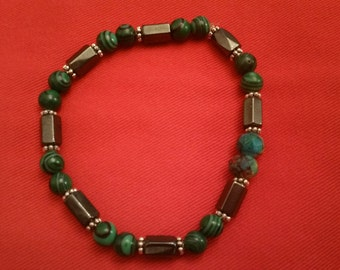 Malachite and Hematite bead bracelet