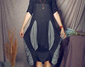 black linen dress, ruffle dress, linen tunic dress, contrast color dress, black dress, boho dress, linen tunic, long linen dress, plus size