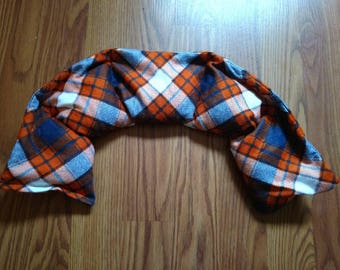Neck Wrap Rice or Corn Bag, Heating Pad, Ice Pack, Microwavable, Freezable, Approx 5x25, Navy and Orange Plaid, Flannel